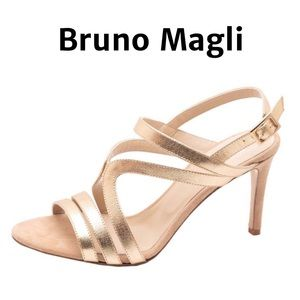 NEW Bruno Magli Gold Ankle Strap Sandal Size 10